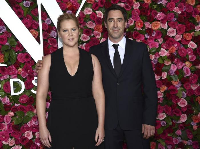 Amy Schumer, left, and Chris Fischer at the 72nd annual Tony Awards in New York.