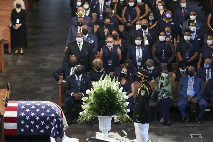 Mourners attend the funeral service for the late Rep. John Lewis, D-Ga., at Ebenezer Baptist Church in Atlanta.