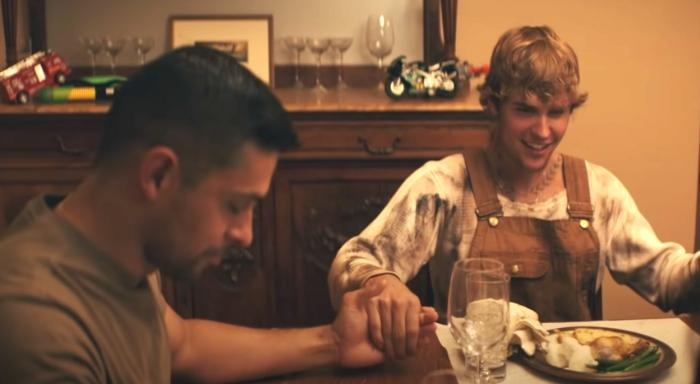 """Wilmer Valderrama, left, and Justin Bieber, right, in the """"Holy"""" music video."""