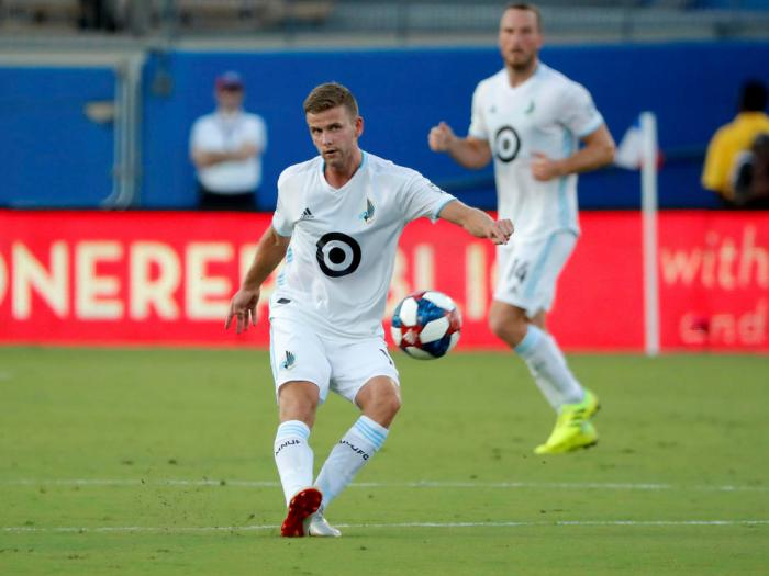 Collin Martin (front) in 2019, when he played with Minnesota United