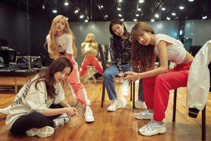 From left, Jisoo, seated from left, Rosé, Jennie and Lisa of the K-Pop band Blackpink.