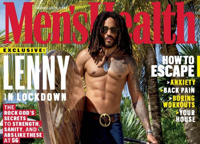 Lenny Kravitz on the cover of Men's Health magazine.