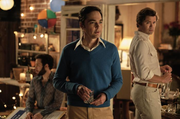 "From left, Robin de Jesús, Jim Parsons and Andrew Rannells in a scene from ""The Boys in the Band."""