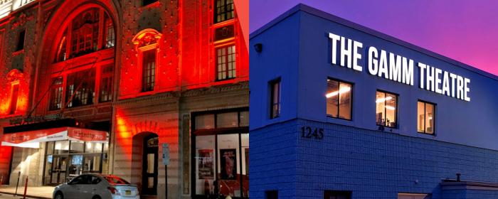 The homes of Trinity Rep (left) and The Gamm Theatre (right)