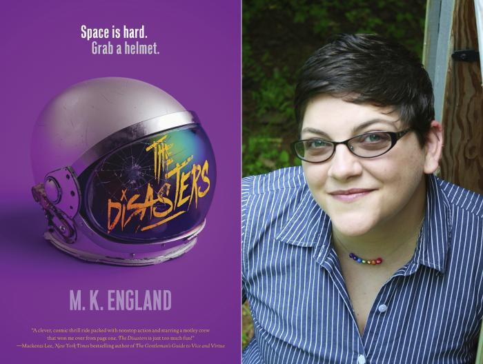 """The cover art for """"The Disasters,"""" left, and a portrait of author M.K. England, whose debut novel is in development for the CW network."""