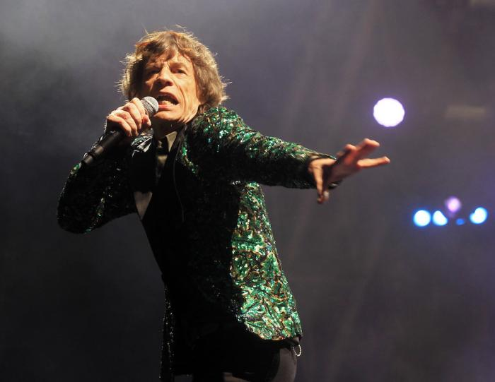 Mick Jagger of The Rolling Stones performs in Glastonbury, England on June 29, 2013.