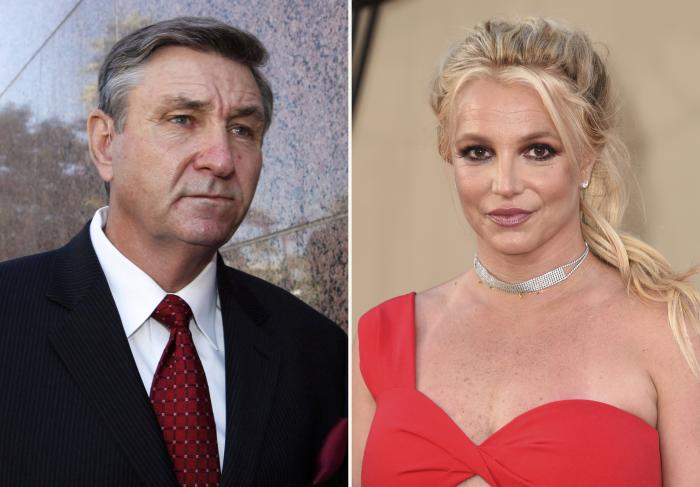 Jamie Spears, left, father of Britney Spears, and Britney Spears, right.